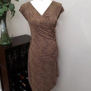 Michael Kors Animal Print Asymmetric Brown Dress